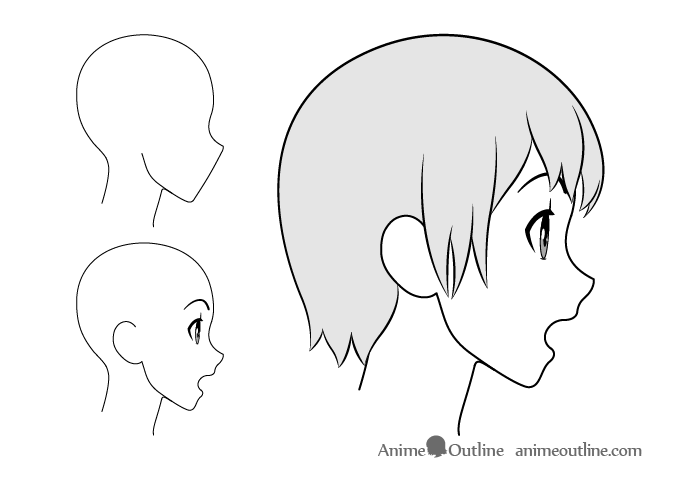 Anime girl surprised side view drawing