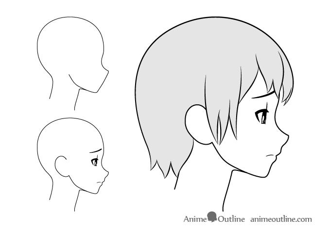 Anime girl upset side view drawing