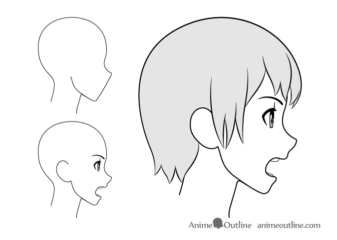 Anime girl yelling side view drawing