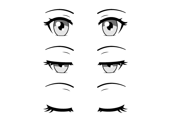 Closing anime eyes