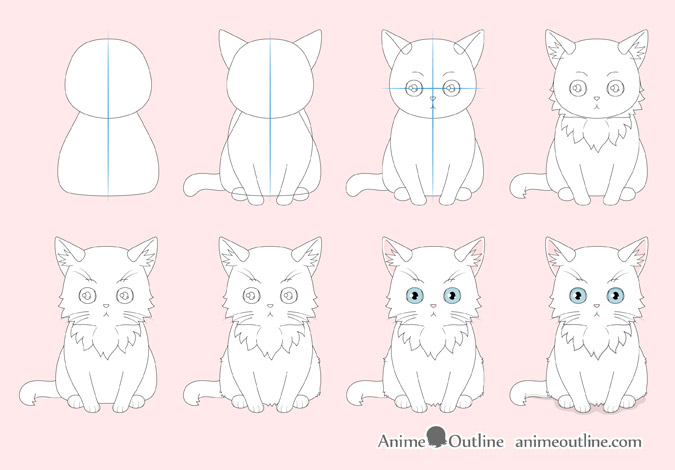 Anime cat drawing step by step