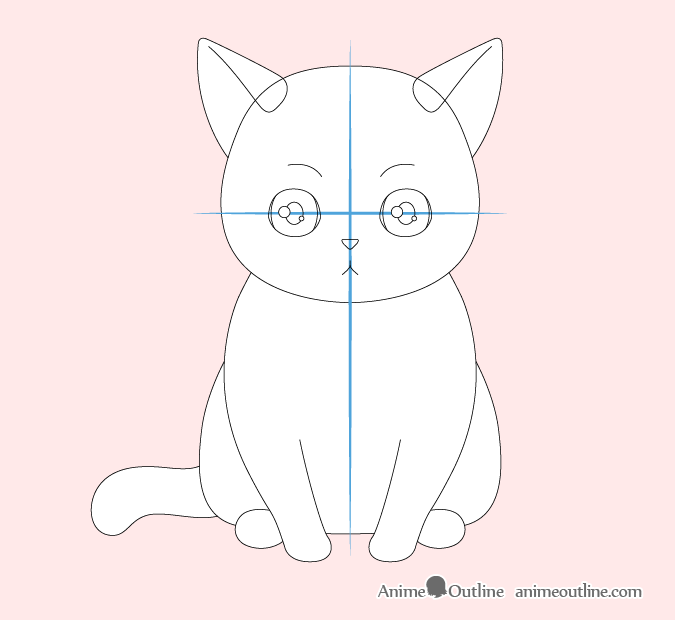 Anime cat face drawing