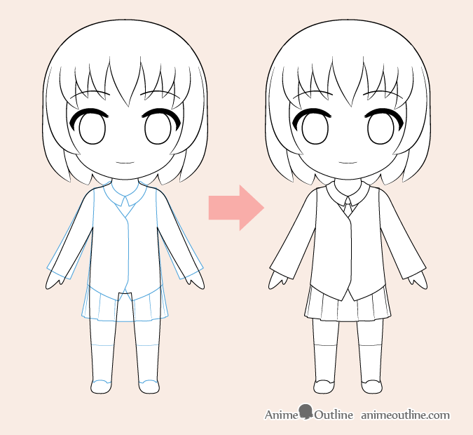 Chibi anime clothes drawing