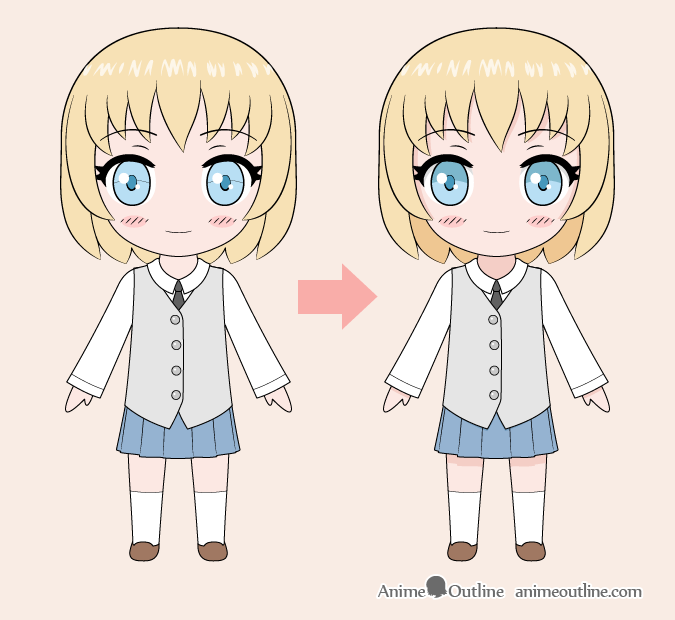 Chibi anime girl color drawing