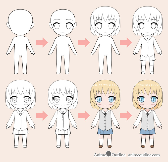 Chibi anime girl drawing step by step