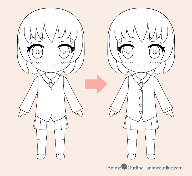 Chibi anime girl line drawing