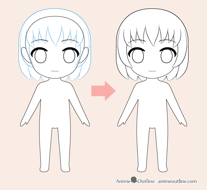 Chibi anime hair drawing