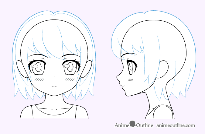 Cute anime girl hair drawing