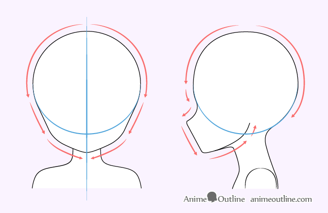 Cute anime girl head drawing