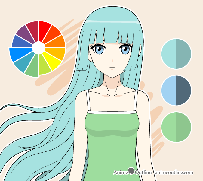Anime girl analog colors drawing