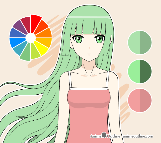 Anime girl complimentary colors drawing