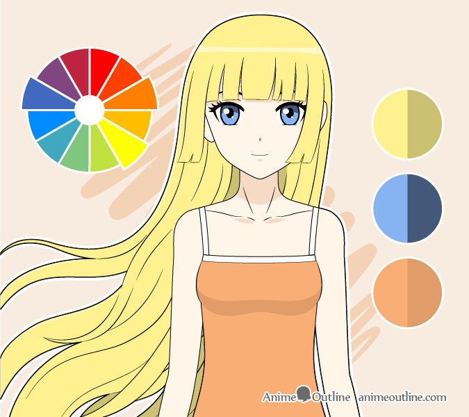 Anime girl split complimentary colors drawing