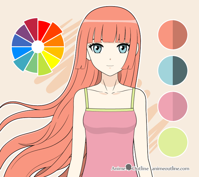 Anime girl tetradic colors drawing 2