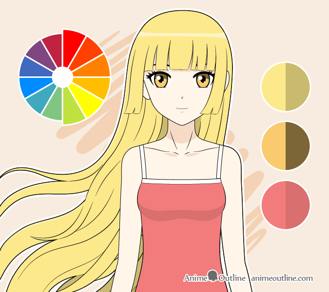 Anime girl warm colors drawing