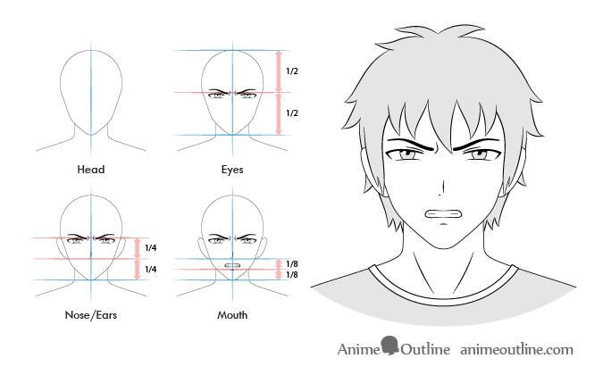 Anime male angry facial expression