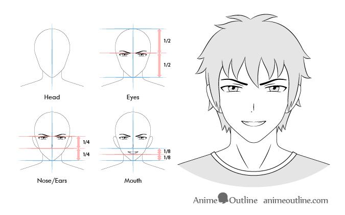 Anime male grinning facial expression