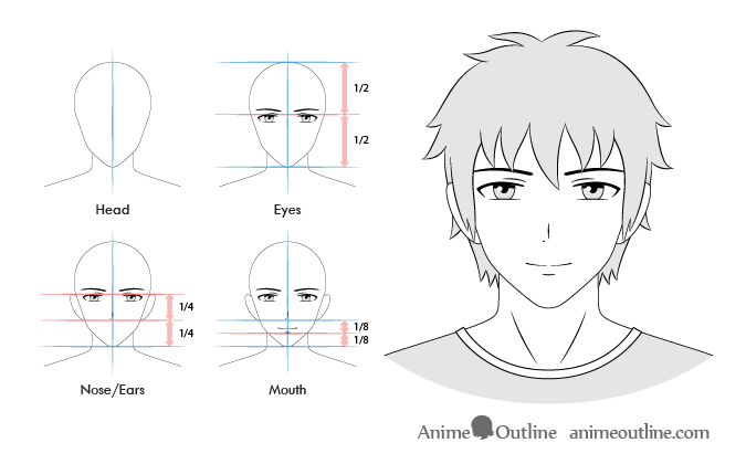 Anime male smiling facial expression