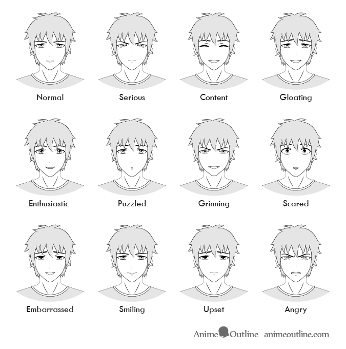 12 anime male facial expressions chart tutorial animeoutline