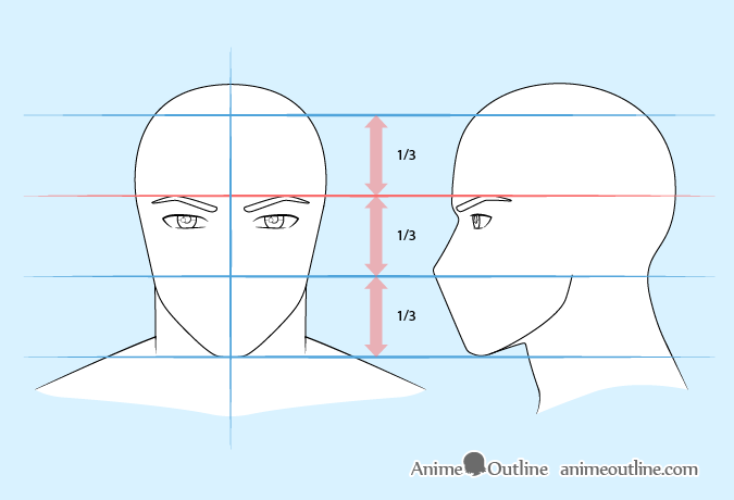 Anime man eyebrows drawing
