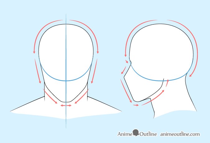 Anime man head drawing