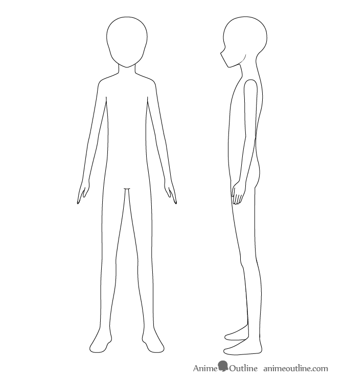 Anime boy body line drawing