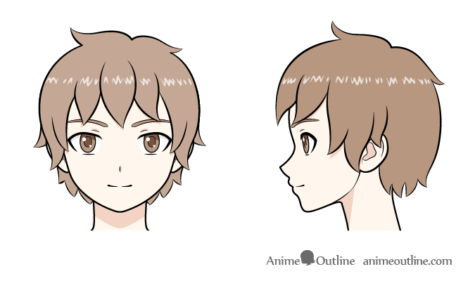 Anime boy head front and side view drawing