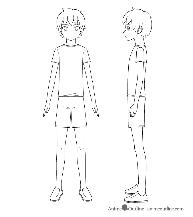 Anime boy full body line drawing