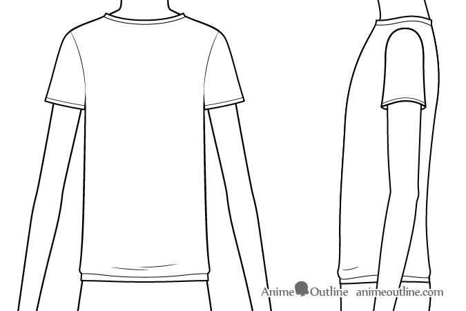 Anime boy t-shirt details and folds drawing