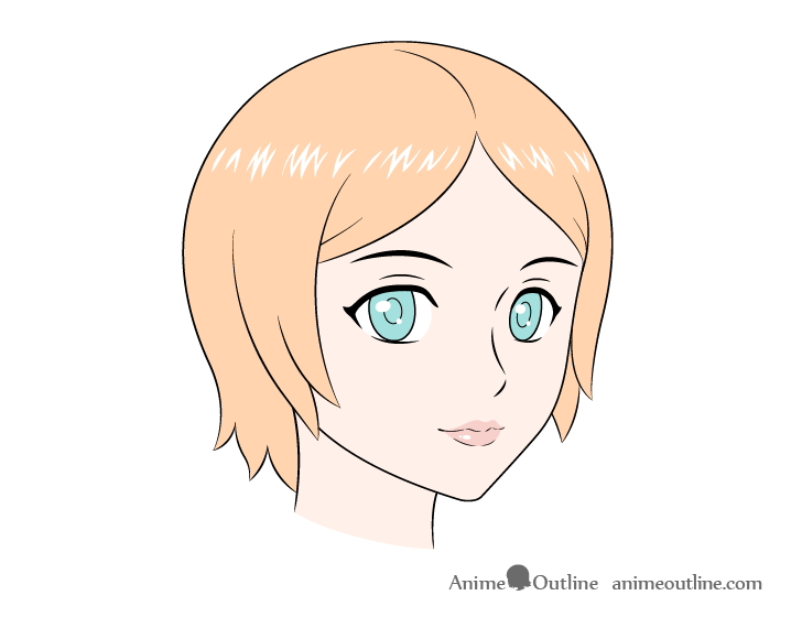 Anime female face 3/4 view coloring