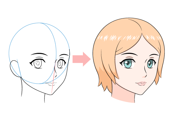 Anime female face 3/4 view drawing tutorial