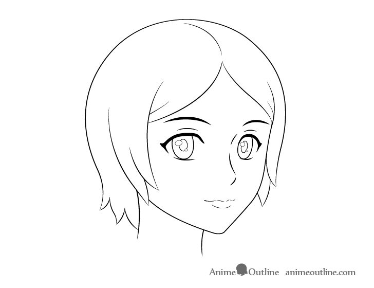 Anime female face 3/4 view line drawing