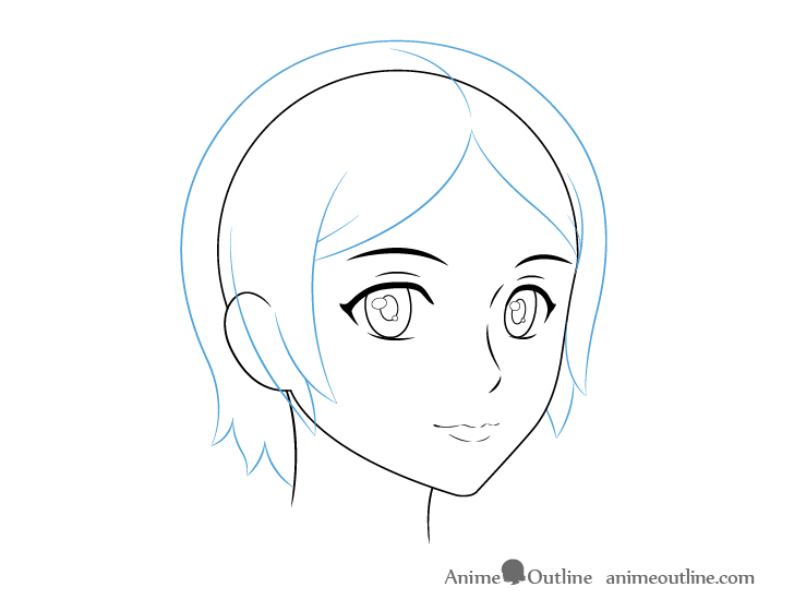 Anime female hair 3/4 view drawing