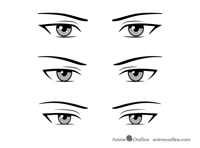 Serious style male anime eyes