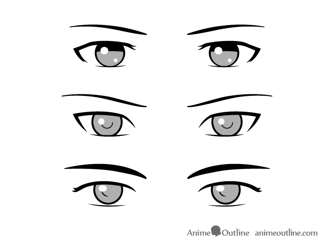 Simple style male anime eyes