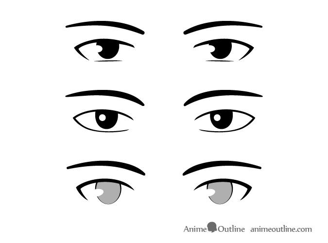 Simplistic style male anime eyes
