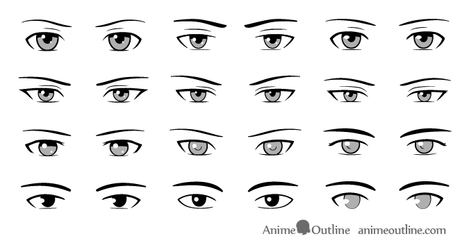 Anime male eyes style reference