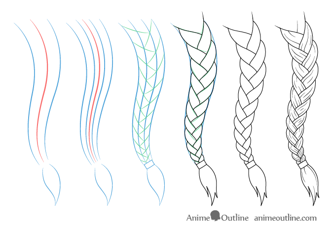 Curved anime braid drawing