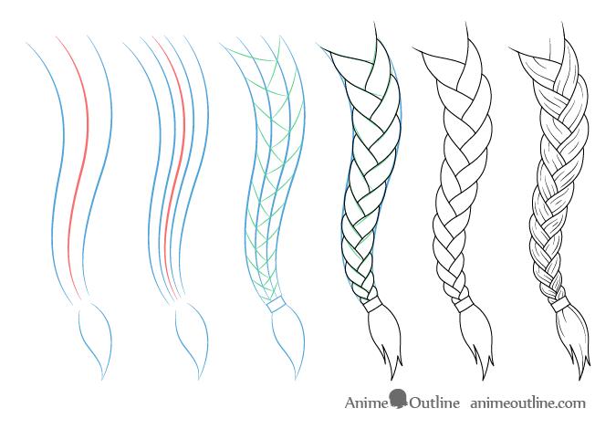 How To Draw Anime Manga Style Hair Braids Animeoutline