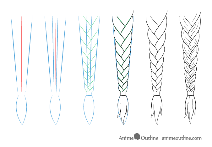 Straight anime braid drawing