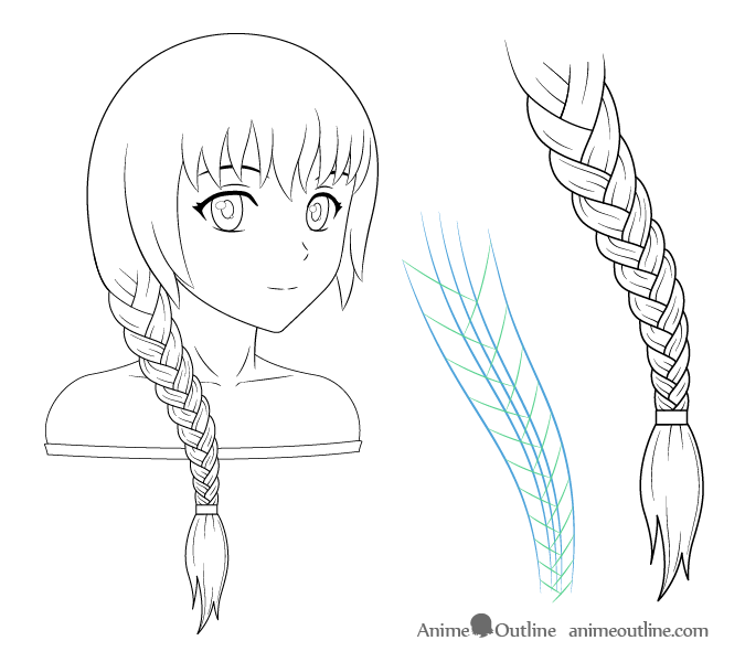Anime girl with braid drawing