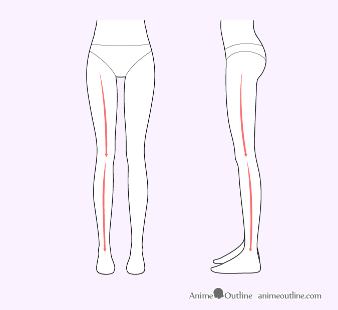 Female anime legs shape