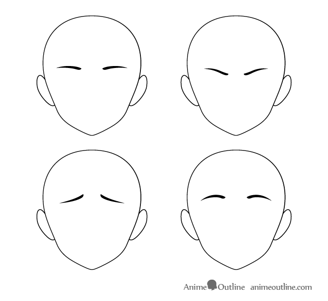 Anime short eyebrows different positions
