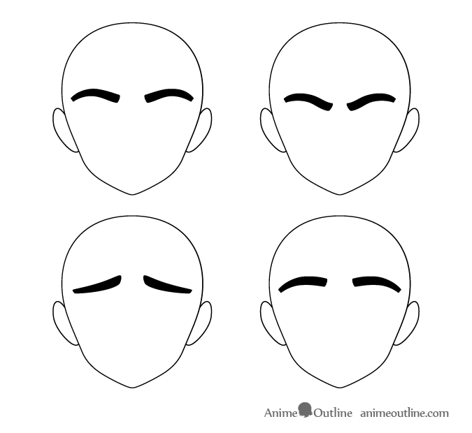 Very tick anime eyebrows different positions