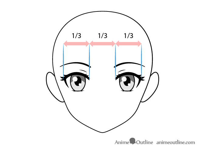 Female anime eyes spacing