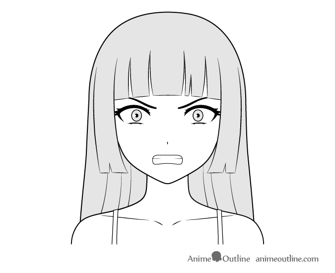Anime villain girl angry face drawing