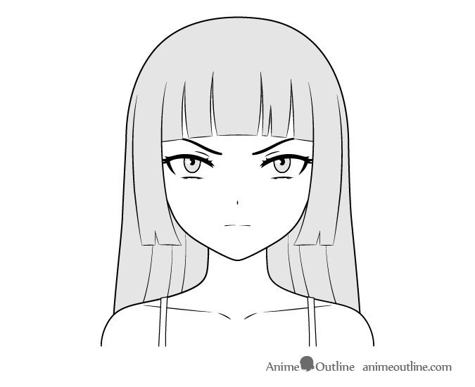 Anime villain girl face drawing
