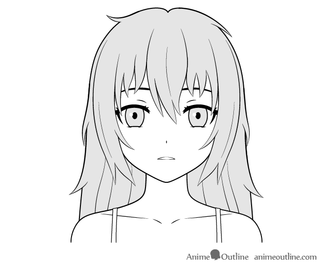 Anime yandere girl cold stare face drawing