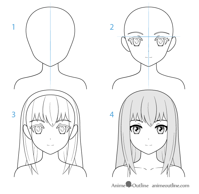 Female anime character face drawing step by step