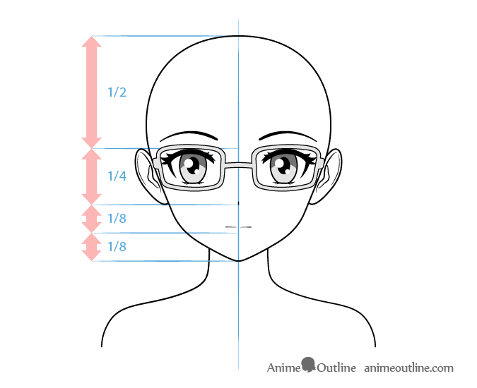 Anime bookworm female character face drawing