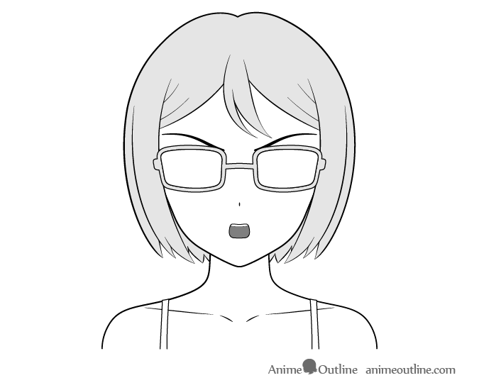 Anime bookworm girl curious face drawing